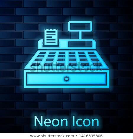 Pieniężnych maszyny neon działalności promocji świetle Zdjęcia stock © Anna_leni