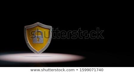 Metálico escudo forma preto azul cópia espaço Foto stock © make