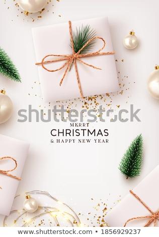 Karácsony ünneplés szórólap csillog karácsony fa Stock fotó © SArts