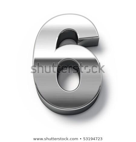Brushed metal font Number 6 SIX 3D Stock photo © djmilic