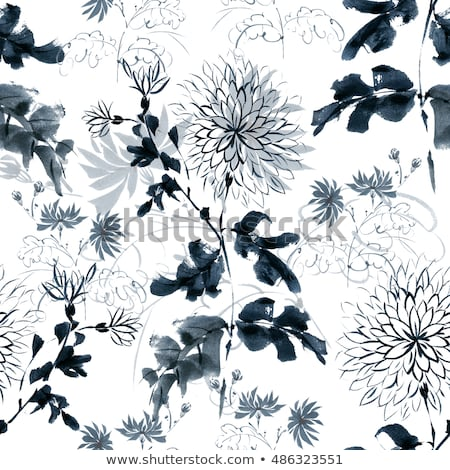 Seamless pattern design with hand drawn flowers and floral elements Stock photo © BlueLela