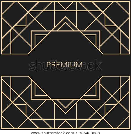 Vector black and gold abstract square luxury frame. Geometric golden pattern, sparkling sequins Stock photo © Iaroslava