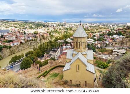 święty kościoła Gruzja rzeki drzewo budynku Zdjęcia stock © borisb17