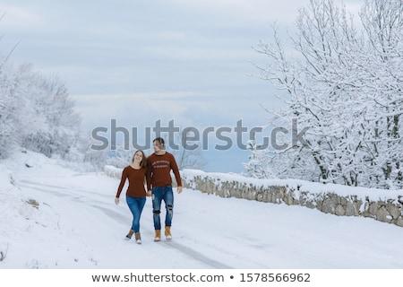 Jonge echtpaar kinderen romantische lopen winter Stockfoto © ElenaBatkova