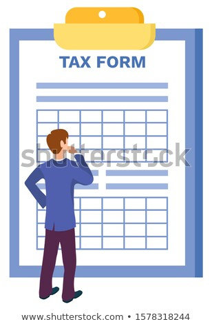 Man Thinking How to Fill in Tax Form Isolated Stock photo © robuart