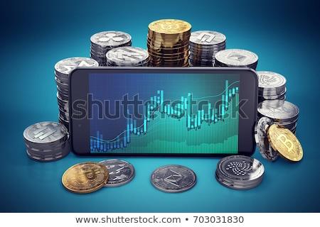 Smartphone with cryptocurrencies. Bitcoin, Dash, Monero, Ripple, Ethereum, EOS. Electronic wallet. E Stock photo © karetniy