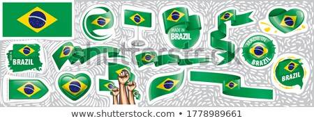 Vector set of the national flag of Brazil in various creative designs Stock photo © butenkow