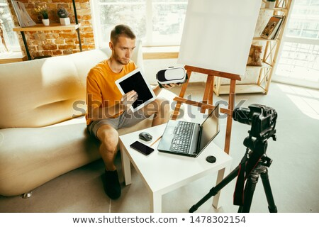 Erkek blogger gözlük ev blog insanlar Stok fotoğraf © dolgachov