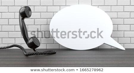 Telefone branco balão de fala tabela 3D Foto stock © limbi007