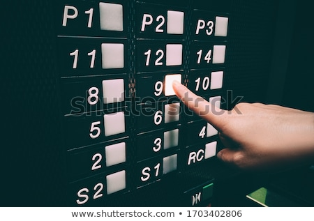 Pressing elevator button with hands, touching public surface with germs, personal hand hygiene care  Stock photo © Maridav