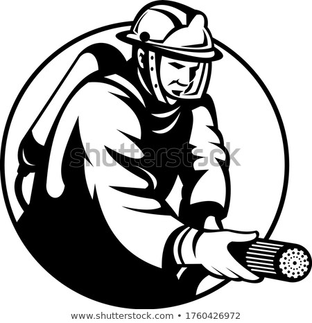 Firefighter Fireman First Responder Aiming Fire Hose Circle Retro Black and White Stock photo © patrimonio