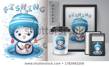 Inverno pinguino poster vettore eps 10 Foto d'archivio © rwgusev