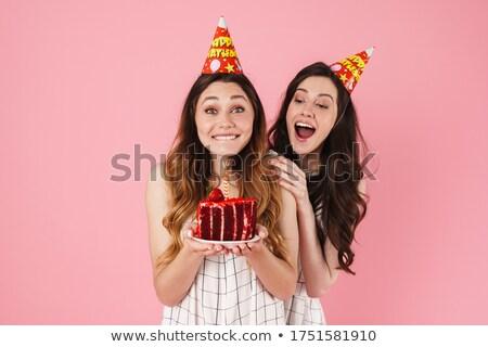 изображение возбужденный женщины вечеринка торт Сток-фото © deandrobot