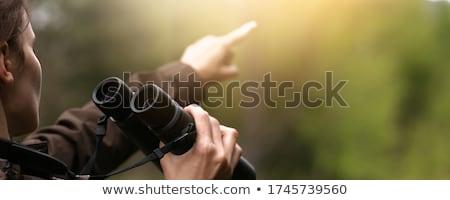 женщину · глядя · бинокль · поиск · успех · зрелый - Сток-фото © photography33