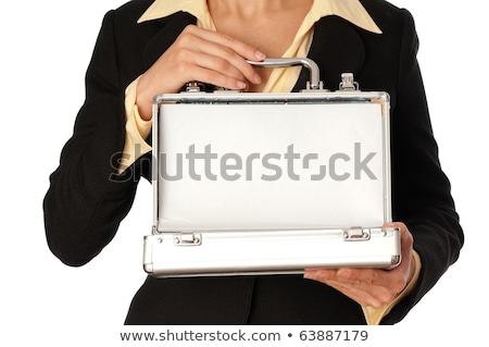 Stock photo: Woman opening metal briefcase