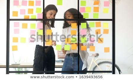 Denk plan produceren geschreven krijt Blackboard Stockfoto © bbbar