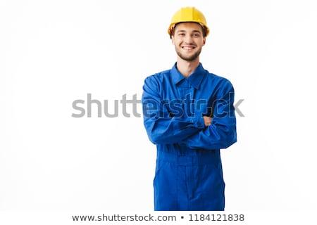 Férfi kék munkavédelmi sisak modell munkás ipari Stock fotó © photography33