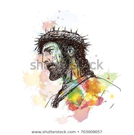 Abstrato artístico jesus retrato páscoa cara Foto stock © pathakdesigner