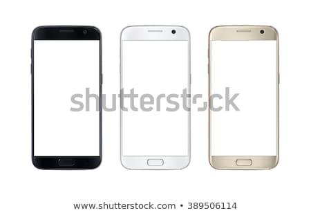 Téléphone portable blanche téléphone design noir numérique Photo stock © ozaiachin