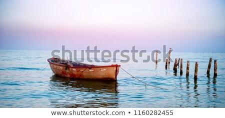 小 · 木製 · ボート · 空っぽ · 桟橋 · 湖 - ストックフォト © justinb
