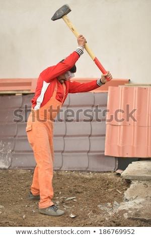 égbolt munka munkás sisak férfi széf Stock fotó © photography33