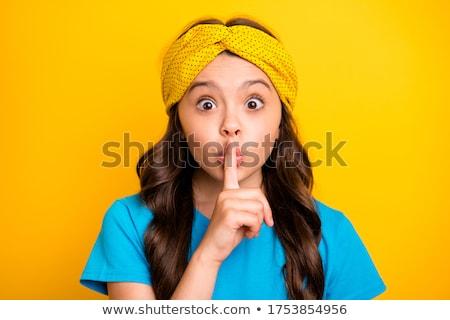 mulher · atraente · dedo · boca · calma · isolado - foto stock © piedmontphoto