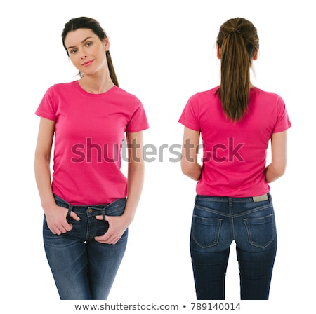 Zdjęcia stock: Piękna · młodych · brunetka · różowy · shirt · czerwony