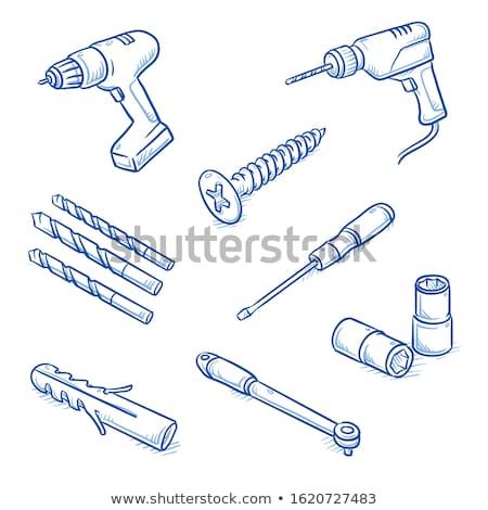 Zdjęcia stock: śruby · rysunek · streszczenie · sztuki · ilustracja · metal