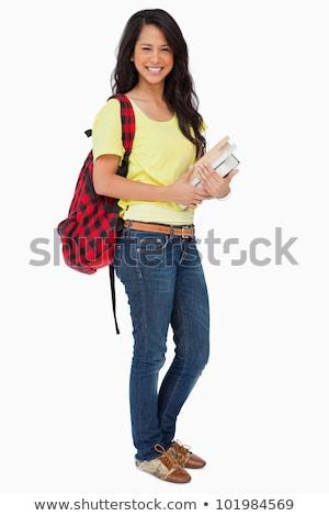 Estudante mochila livros didáticos branco feliz Foto stock © wavebreak_media