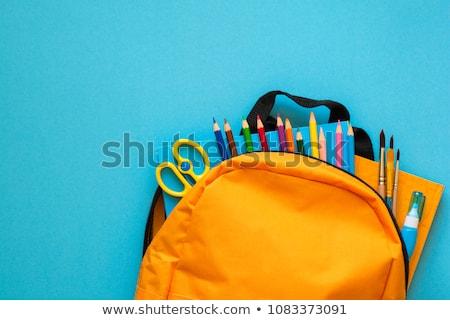 material · escolar · isolado · branco · escolas · comprimido · topo - foto stock © m-studio