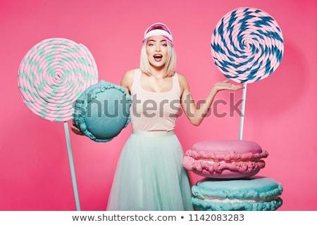 Kız güzel bir kadın şeker eller moda gözler Stok fotoğraf © iko
