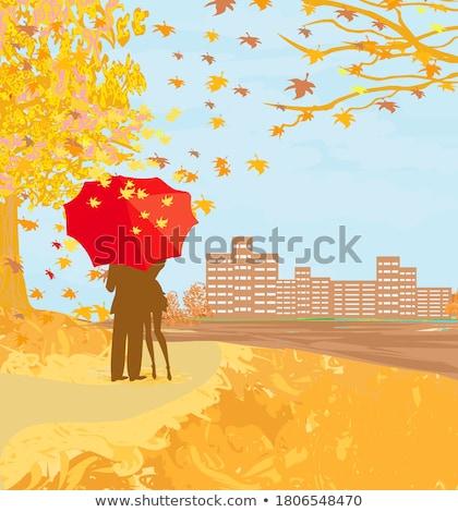 Einsamen Baum Sonnenuntergang Paar Liebhaber Himmel Stock foto © gavran333