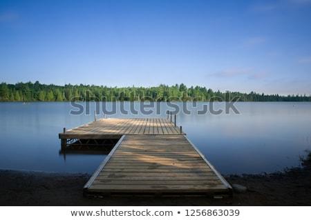 木製 ドック 湖 写真 霧の 日 ストックフォト © Nneirda