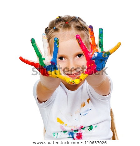 cute girl with finger paint Stock photo © gewoldi