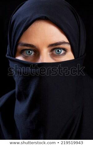 Güzel bir kadın mavi peçe portre kadın yüz Stok fotoğraf © dukibu