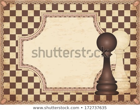 Vintage chess card with two pawns, vector illustration Stock photo © carodi