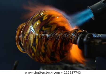 Schlag Taschenlampe Glas blau Flamme Heizung Stock foto © searagen