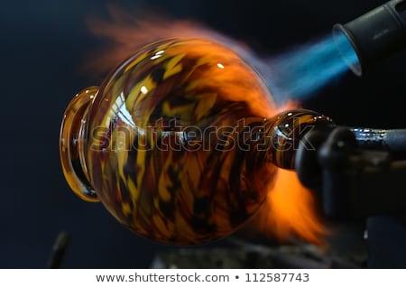 Soprar tocha vidro azul chama aquecimento Foto stock © searagen