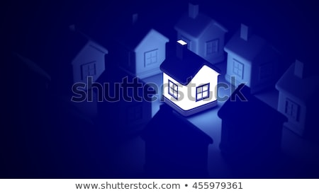 Stock photo: illuminated windows of business house  by night
