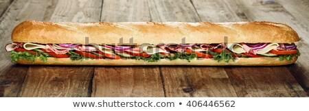 Foto stock: Longo · sanduíche · comida · folha · verde · queijo