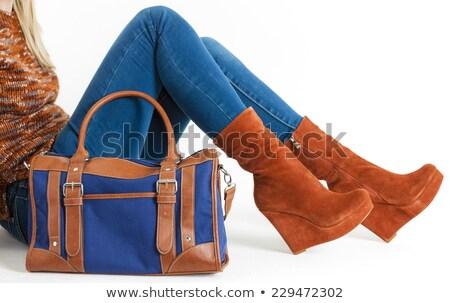 séance · femme · mode · plate-forme · brun - photo stock © phbcz