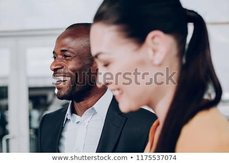 ストックフォト: 幸せ · 男 · 剛毛 · 時計 · 広い · 笑顔