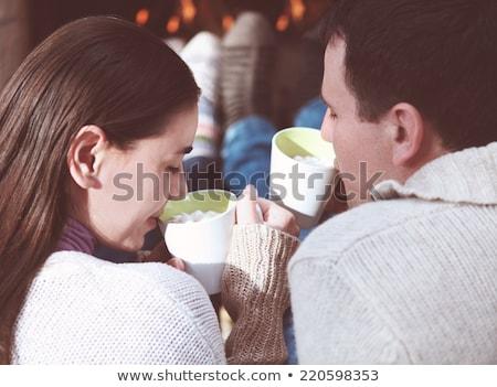 Pár tart csészék forró csokoládé szeretet tél Stock fotó © dashapetrenko