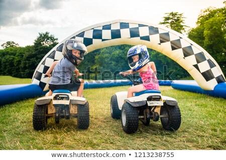Wyścigi brud rowerów chłopca sportowe Zdjęcia stock © meinzahn