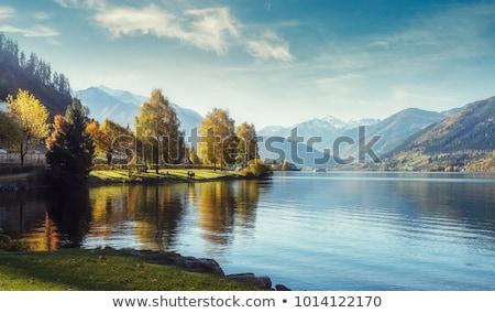 Montagna lago view autunno alberi albero Foto d'archivio © ankarb