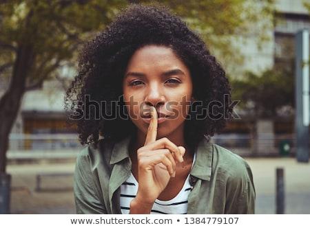женщину · тихий · Секреты · красивая · женщина · пальца · губ - Сток-фото © deandrobot