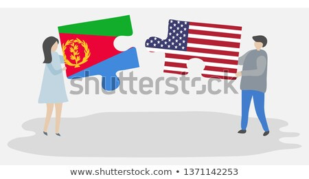 Stock photo: USA and State of Eritrea Flags in puzzle
