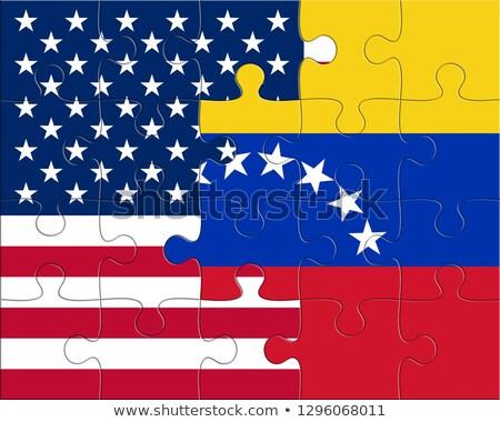 EUA Venezuela bandeiras quebra-cabeça vetor imagem Foto stock © Istanbul2009
