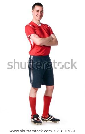 Teljes alakos fitt futballista éljenez fehér futball Stock fotó © wavebreak_media