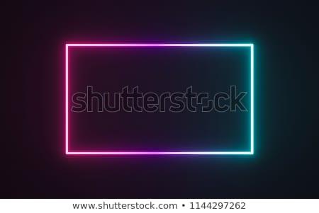 Stock fotó: Vibráló · kék · neon · keret · sötét · vektor